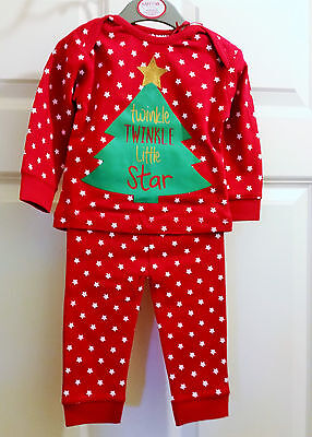 Baby Girls Christmas Pyjamas - Red/white - Twinkle Twinkle Little Star