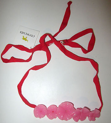 Crewcuts Flower Necklace Red & Pink Tie Closure NEW