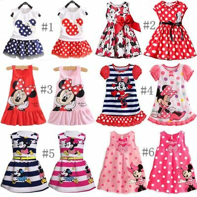Summer Girls Dress Princess Baby Mickey Minnie Mouse Vest Skirt Tutu Sundress