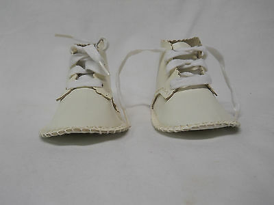Vintage Baby Shoe White Leather Doll Shoe