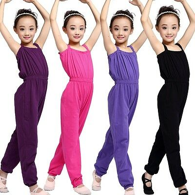 Children Girls Jumpsuit Bodysuit Overalls Dance Dungaree Yoga Leotards Ballet