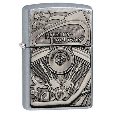 Zippo Lighter: Harley Davidson Hidden Engine Emblem Street Chrome 29266