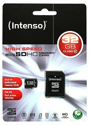 32 GB MicroSDHC Micro SD Speicherkarte mit SD-Adapter Intenso Class 10 Highspeed