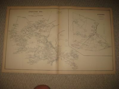 Fine Antique 1892 Portsmouth Exeter Plaistow New Hampshire Map Detailed Rare Nr