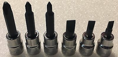 6 Craftsman 3/8 In Drive Screwdriver Sockets 3 Phillips, 3 Slotted New!!!