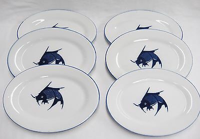 "Koi Fish Oval Plates Blue Rim with Fish in Center Lot of 6 7x10"" Asian Unmarked"