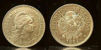 Argentina 1884 Five Gold Peso---Authentic Date Not Random--High Grade & Lustrous