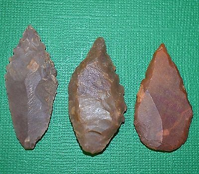 African Neolithic Stone Projectile Knapped Arrowheads Point Sahara Desert Africa