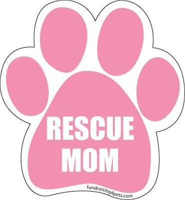 "Rescue Mom Pink Dog Cat Paw Shape Car Fridge 5.5"" Plastic Magnet Adopt Save Pup"