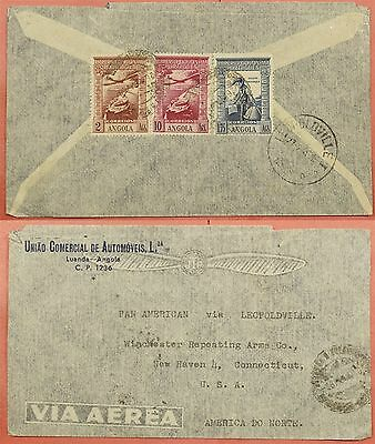 1946 Portuguese Angola Tri Franked Airmail Cover To Usa
