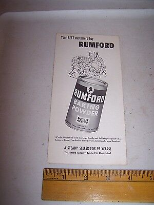 Vintage RUMFORD & HEARTH CLUB BAKING POWDER Profit Chart for Grocers