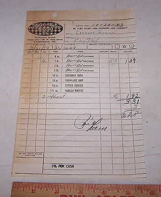 1953 SCHULZE and BURCH BISQUIT CO Invoice WASHINGTON INDIANA