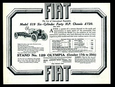 1924 Fiat model 519 car chassis photo vintage UK print ad