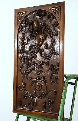 Carved Wood Panel Solid Antique French Bow Hand Carved Wood Salvaged Carving