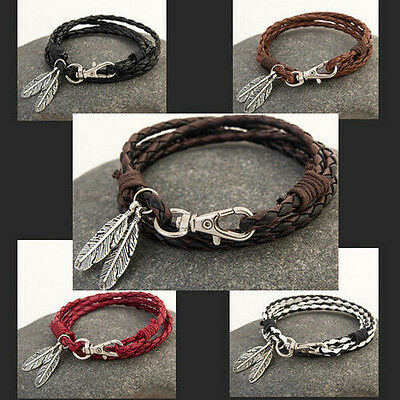 Fashion Leather Wrap Braided Wristband Cuff Punk Men Women Bracelet Bangle New