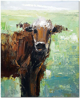 """Hand Painted Modern Impressionist Bull Oil Painting On Canvas 20x24"""" Cow Art"""