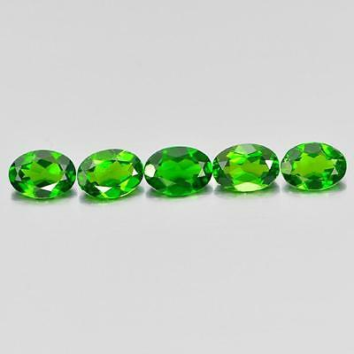 3.80 Ct. 5 Pcs. Oval Shape Natural Gemstones Green Chrome Diopside Unheated