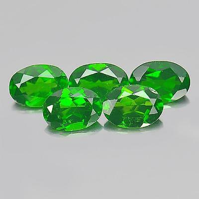 4.13 Ct. 5 Pcs. Oval Shape Gemstones Natural Green Chrome Diopside From Russia
