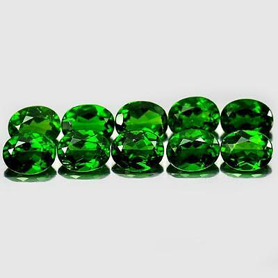 3.74 Ct. 10 Pcs. Oval Shape Gemstones Natural Green Chrome Diopside Unheated