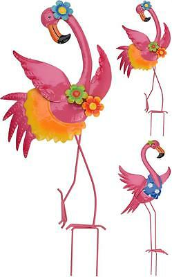 Pink Metal Flamingo Garden Stake Plant Flower Bed Box Ornament Choice Of Design
