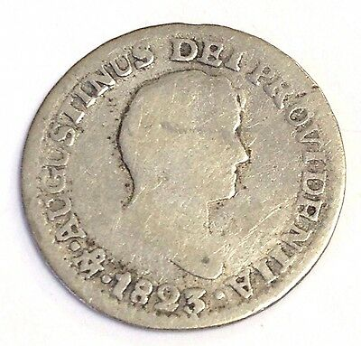 1823 Mexico 1/2 Real, Empire of Ituribe, KM#301 rare coin