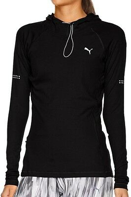 Puma Long Sleeve Hooded Ladies Running Top - Black