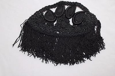 "Vintage French Edwardian Black Silk Crochet Trim Piece 7"" X 3 1/2 """