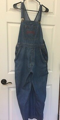 Womens Arkansas Razorback Jean Denim BIB OVERALLS Carpenter Medium Joe College
