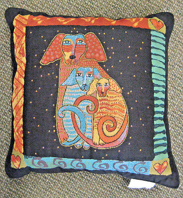 Laurel Burch Papillion Embracing Dogs Tapastry Throw Pillow Beautiful 18""