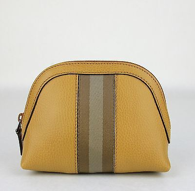 a09b4ce4ceb New Gucci Whiskey Leather Cosmetic Case with Brown Beige Web 339558 7766
