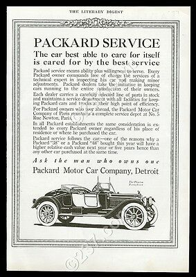 1913 Packard Phaeton Runabout convertible car illustrated vintage print ad