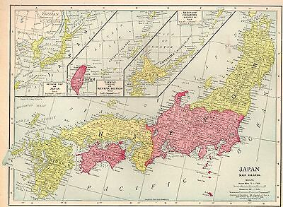 1915 Antique JAPAN Map Vintage Collectible Map of Japan Gallery Wall Art 4030