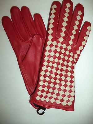 Ladies Leather Driving Gloves,Large, Red-see description for pics