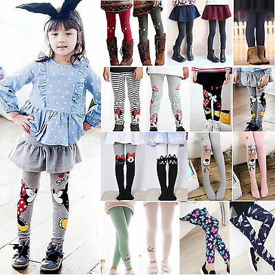 Toddler Kid Girl Cotton Leggings Pants Stretch Warm Trousers Long Socks Stocking