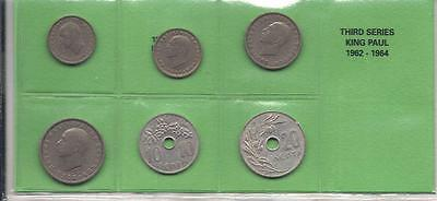 Complete Used Set Of Greek Coins 1962 - 1964 King Paul