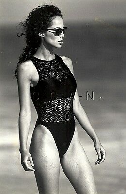 Original 1994 Semi Nude Pinup Press Photo- Jantzen Electric Swimsuit Advertising