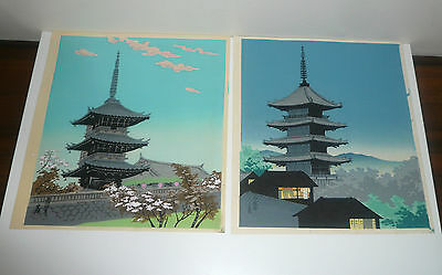Vintage 2 Japanese Original Wood Block Prints By Tomikichiro Tokuriki 1902-2000