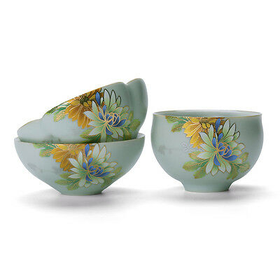 porcelain tea cup ruyao crackle glaze master cup flower relief gongfu cup of tea