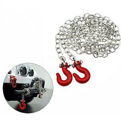 Red Metal Trailer Hook & Chain for 1/10 D90 Axial SCX10 RC Rock Crawler Q2S3