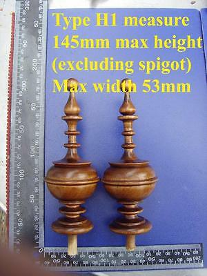 da type H1 - Pair stained wood vienna regulator wall clock FINIALS furniture DIY