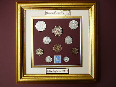 PERSONALISED FRAMED 1941 OLD BRITISH COINAGE SET 76th BIRTHDAY GIFT IN 2017