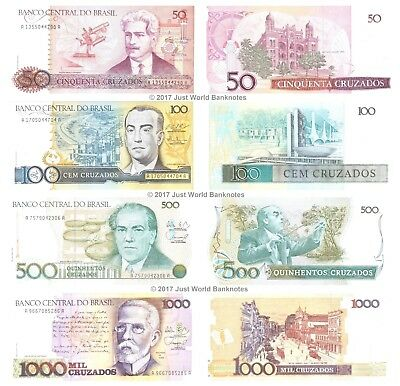 Brazil 50 + 100 + 500 + 1000 Cruzados 1986-88 Set of 4 Banknotes 4 PCS UNC