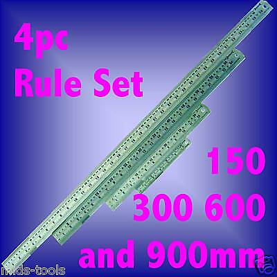 4 pce STEEL RULE SET Ruler measure INC VAT