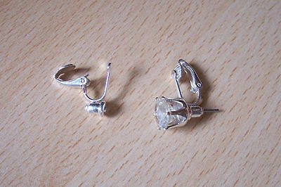 5  Pairs Silvertone Pierced Post To Clip-On Earrings Converters Findings