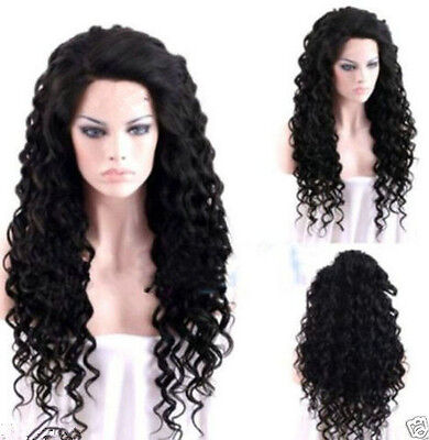 Hot Popular Women Long Curly Black Synthetic Cosplay Halloween Hair Full Wigs