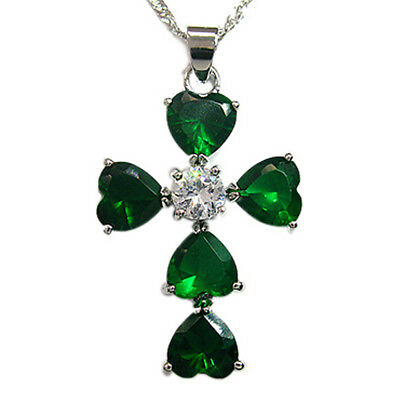 Melina Jewelry Heart Cut Green Emerald Silver Tone Pendant Necklace~ For Dress