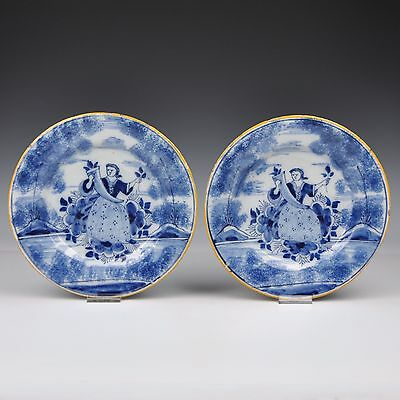 "A Pair Of Delft Blue And White 18th Century Plates ""Lady Fortuna"""