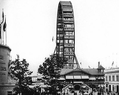1893 WORLD'S FAIR GREAT FERRIS WHEEL FROM WEST 8x10 SILVER HALIDE PHOTO PRINT