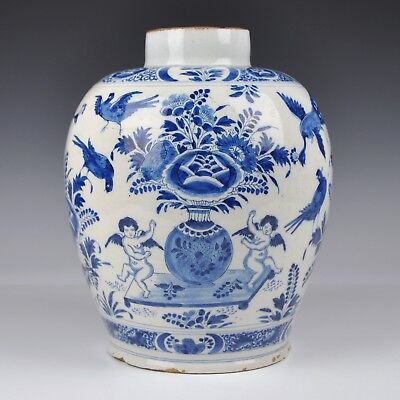 "A Delft Blue And White 18th Century Jar With ""Cupido Decoration"""