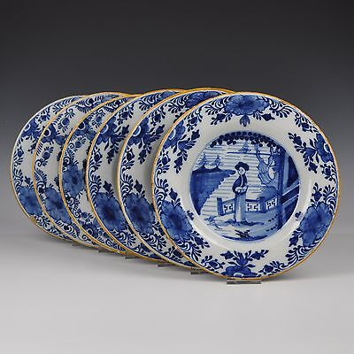 "A Set Of Six Delft Blue And White 18th Century Plates ""Chinese Lady"""
